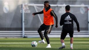 Vinícius, en el entrenamiento del Madrid.