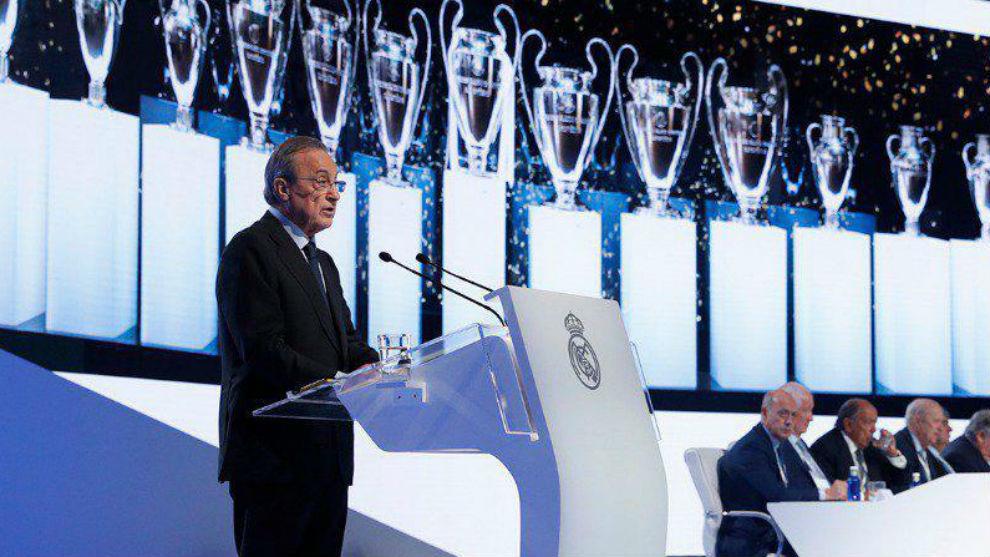 Florentino, en la última Asamblea del Real Madrid.