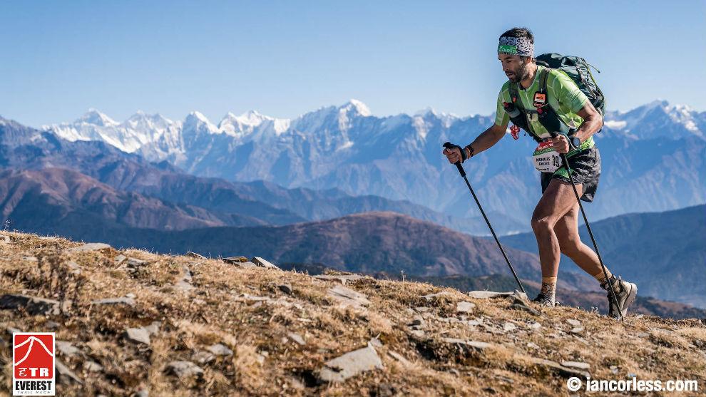 Gerard Morales, en la segunda etapa de la Everest Trail.