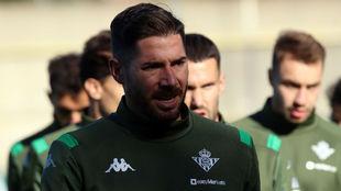 Javi García, en el entrenamiento de este martes.
