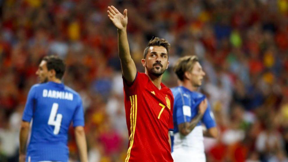 Imagen de Villa en su último partido con España