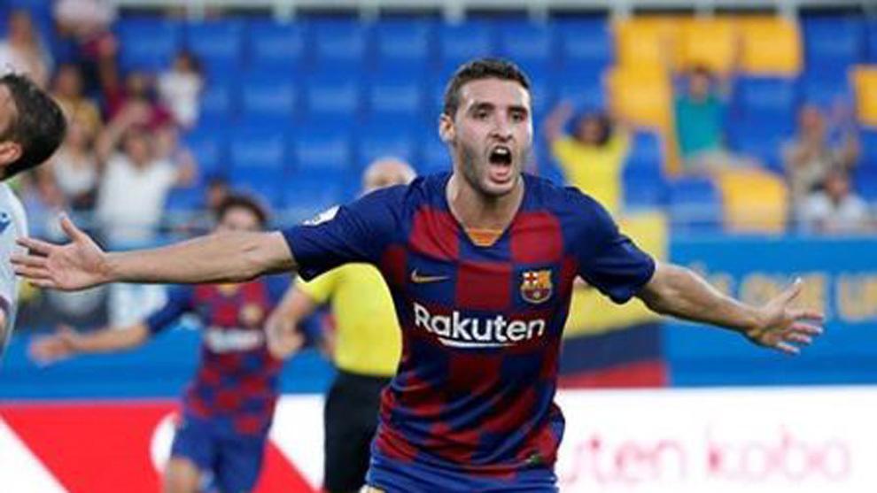 Abel Ruiz celebra un gol con el Barcelona