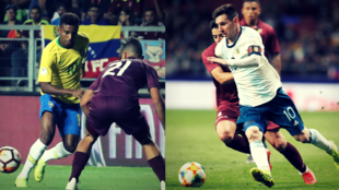 Rodrygo y Messi en unas acciones de juegos con sus respectivas...