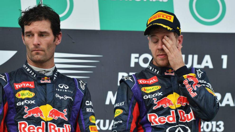 Webber y Vettel en el podio de Malasia 2013, el día del 'Multi 21'.
