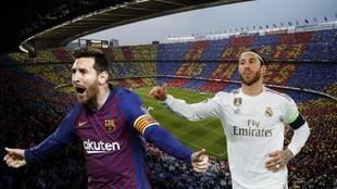 Leo Messi y Sergio Ramos con el Camp Nou de fondo