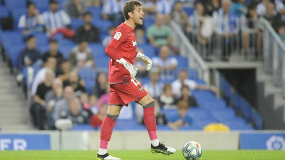 Aitor, en el partido que disputó el Levante en Anoeta contra la Real.