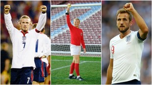 David Beckham, Bobby Moore y Harry Kane.