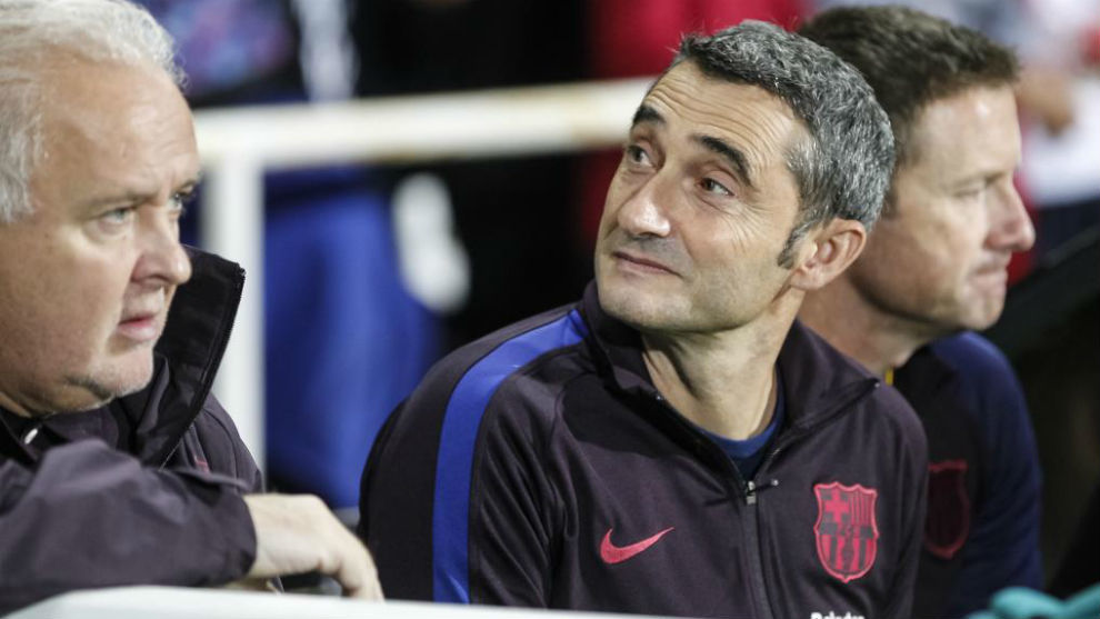 Ernesto Valverde durante el partido ante el Cartagena.