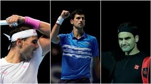 Nadal, Djokovic y Federer, en acción