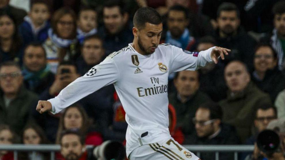 Hazard, durante un partido del Madrid en el Bernabéu.