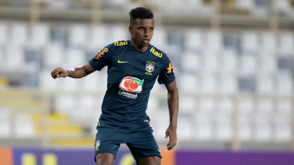 Rodrygo, en un entrenamiento con Brasil esta semana.