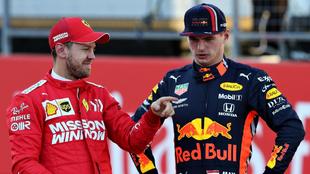 Sebastian Vettel y Max Verstappen.