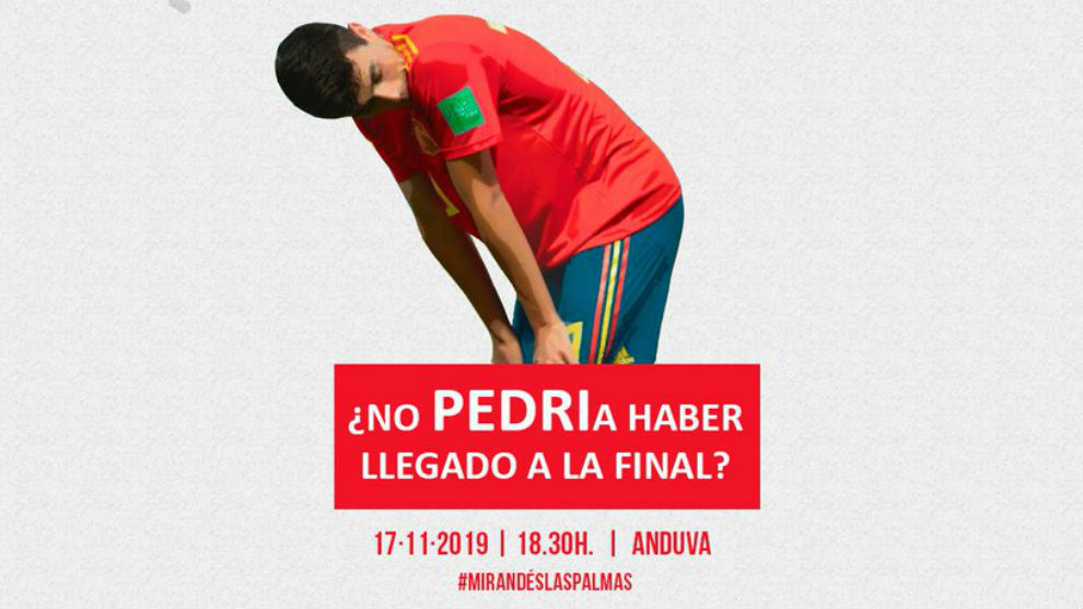 """El divertido cartel del Mirandés-Las Palmas: """"¿No PEDRIa haber llegado la sub 17 a la final?"""" - MARCA.com"""