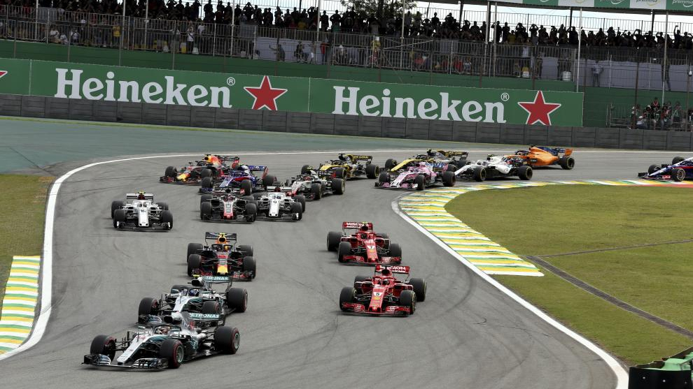 La salida del Gran Premio de Brasil de F1 2018