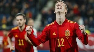 Dani Olmo celebra su gol ante Malta.