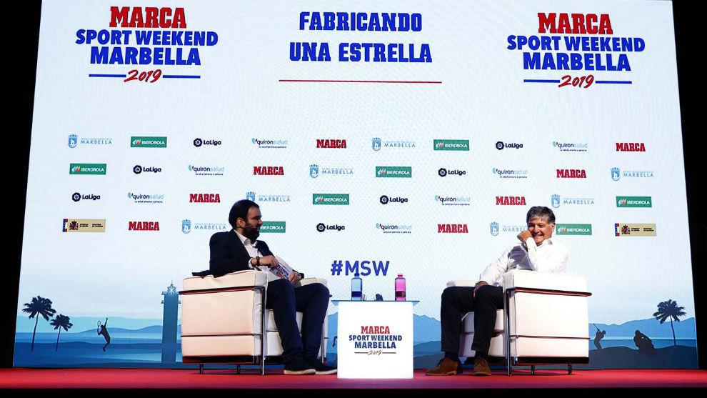 José Luis Escarabajano entrevistando a Toni Nadal en el Marca Sport...