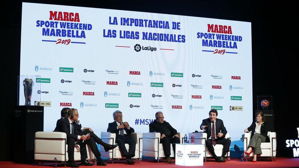 Los presidentes del Levante, Atlético, LaLiga, Torino y Eibar,...