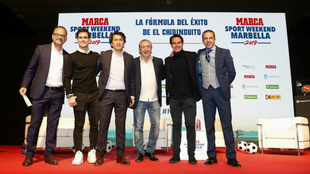 De izquierda a derecha, Emilio Contreras, Edu Aguirre, José Félix...