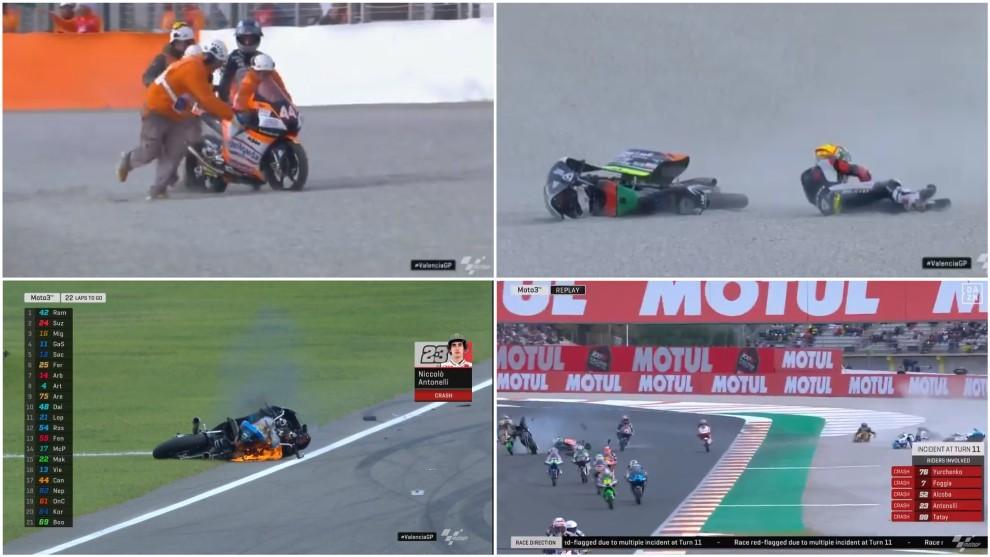 ventaja exhaustivo Empleado  GP Valencia MotoGP 2020: Locura en Cheste: una moto ardiendo, caída  múltiple y bandera roja en tres vueltas | Marca.com