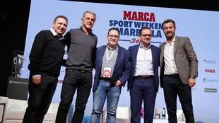 Eusebio, Nadal, Vicente Ortega, MIjatovic y Panucci al terminar la...