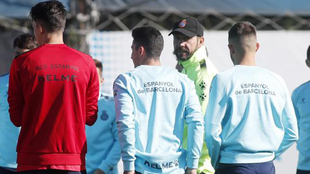 Pablo Machín, durante un entrenamiento en la Ciudad Deportiva.