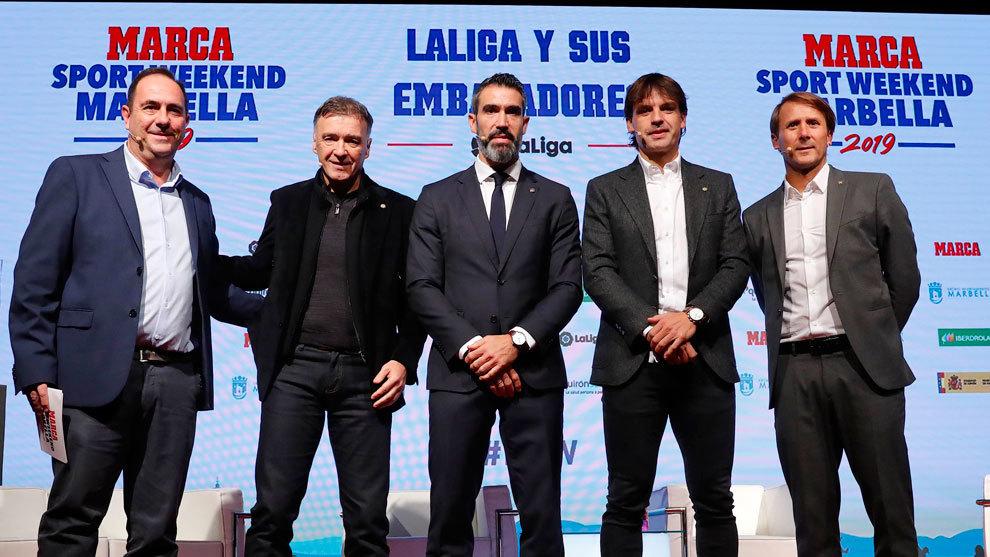 José María Rodríguez (MARCA) junto a Pantic, Fernando Sanz,...