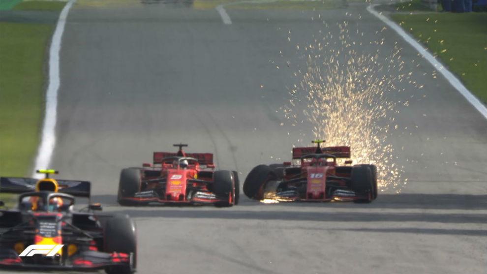 Momento de la colisión entre los dos Ferraris