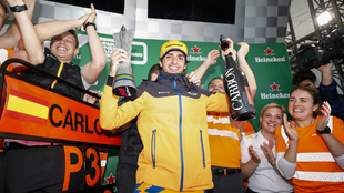 Sainz celebra su primer podio en la F1.