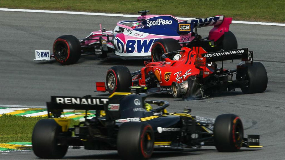 Así quedó el Ferrari de Vettel tras el accidente con Leclerc.