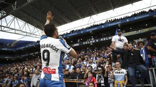 Sergio García, ante la afición del RCDE Stadium.