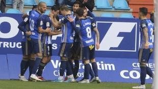 Los jugadores de la Ponfe celebran el gol marcado al Girona, partido...