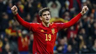Gerard Moreno, celebrando uno de sus goles ante Rumanía.