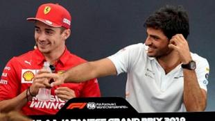 Charles Leclerc y Carlos Sainz, durante la rueda de prensa del GP de...