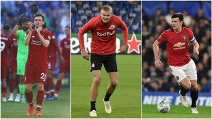 Andrew Robertson, Erling Haaland y Harry Maguire.