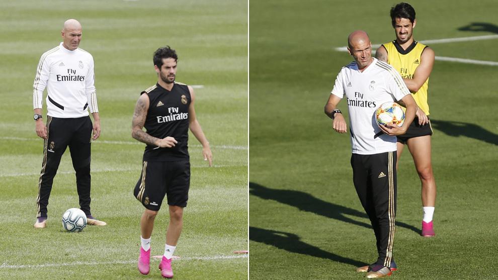 Isco y Zidane, en dos entrenamientos de la pretemporada