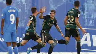 Kaxe celebra un gol ante el Fuenlabrada esta temporada.