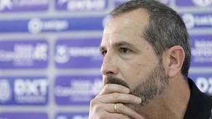 Sesé Rivero, durante la rueda de prensa que ha ofrecido este...