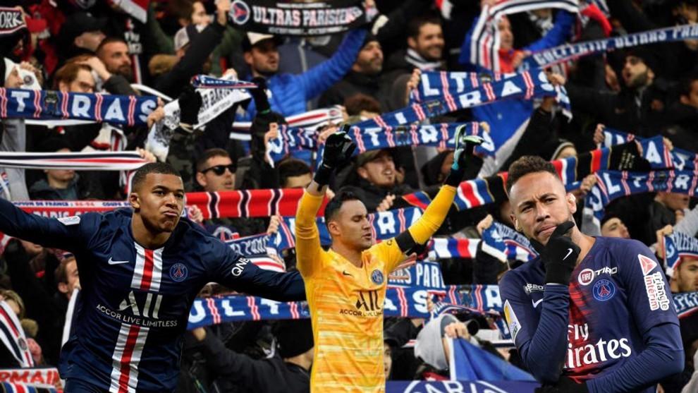 Keylor, Mbappé y Neymar con los ultras del PSG de fondo