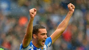 Merino celebra su gol al Betis.