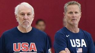 Popovich y Kerr en la concentración de Estados Unidos