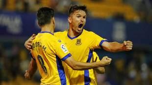 Jon Errasti (31), celebra un gol del Alcorcón.