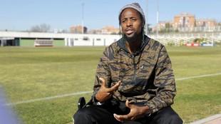 Abdoulaye Ba, en la Ciudad Deportiva rayista, en una entrevista con...