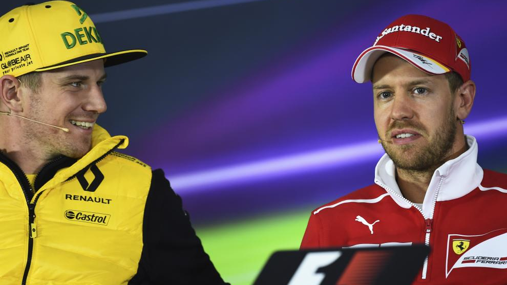 Nico Hülkenberg y Sebastian Vettel en rueda de prensa.
