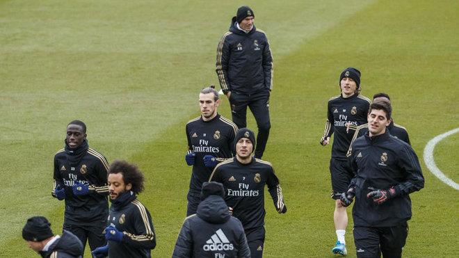 Imagen del entrenamiento previo al Real Madrid-Real Sociedad