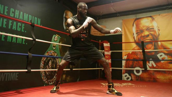 Deontay Wilder durante un entrenamiento.