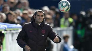 Ernesto Valverde durante el partido ante el Leganés.