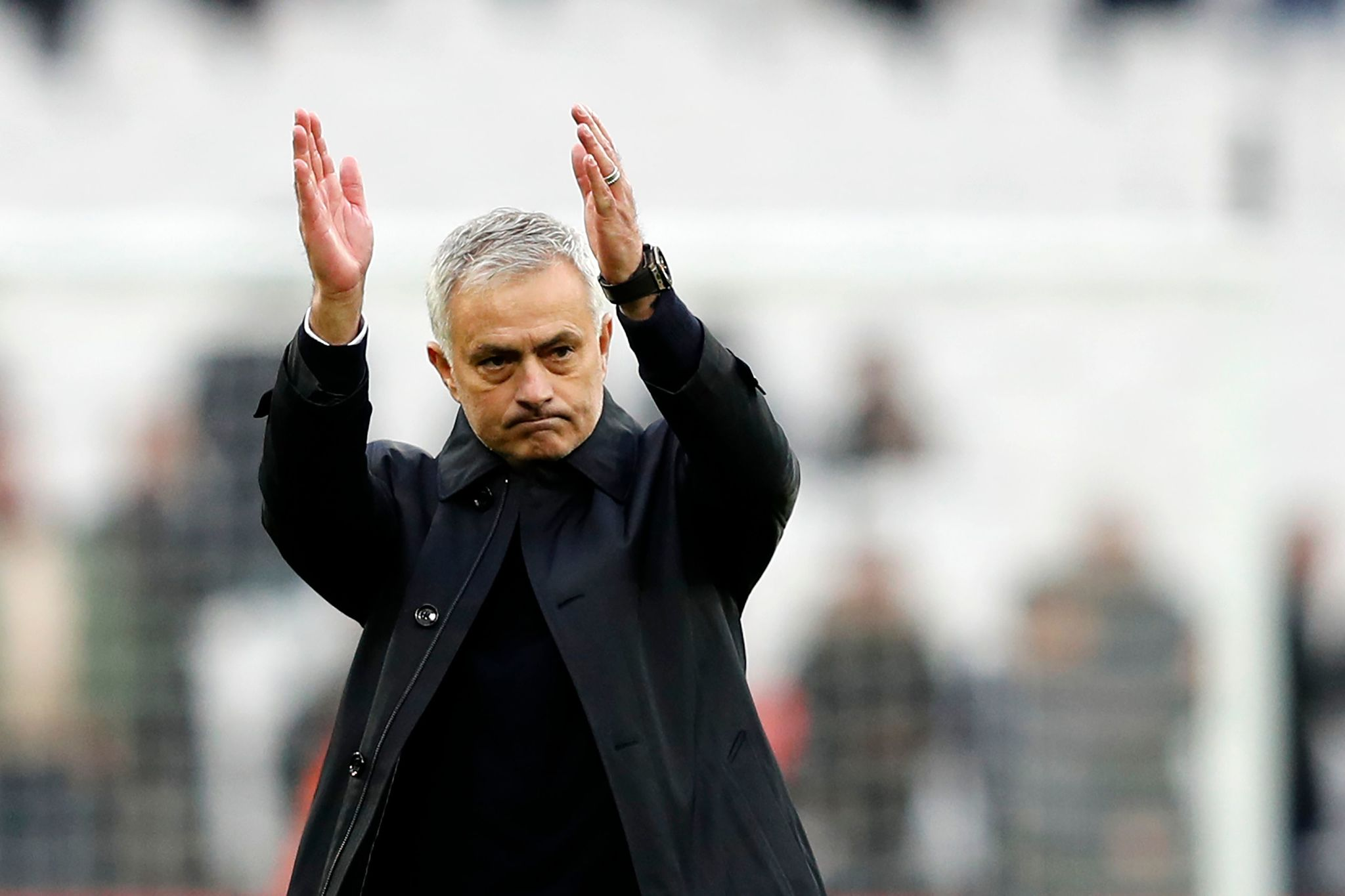 <HIT>Tottenham</HIT> Hotspurs Portuguese head coach Jose Mourinho reacts at the final whistle during the English Premier League football match between West Ham United and <HIT>Tottenham</HIT> Hotspur at The London Stadium, in east London on November 23, 2019. - <HIT>Tottenham</HIT> Hotspur beat West Ham United 3-2. (Photo by Adrian DENNIS / AFP) / RESTRICTED TO EDITORIAL USE. No use with unauthorized audio, video, data, fixture lists, club/league logos or live services. Online in-match use limited to 120 images. An additional 40 images may be used in extra time. No video emulation. Social media in-match use limited to 120 images. An additional 40 images may be used in extra time. No use in betting publications, games or single club/league/player publications. /