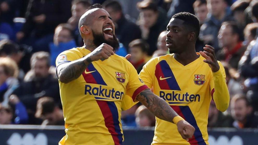 Arturo Vidal celebra el gol contar el Leganés.