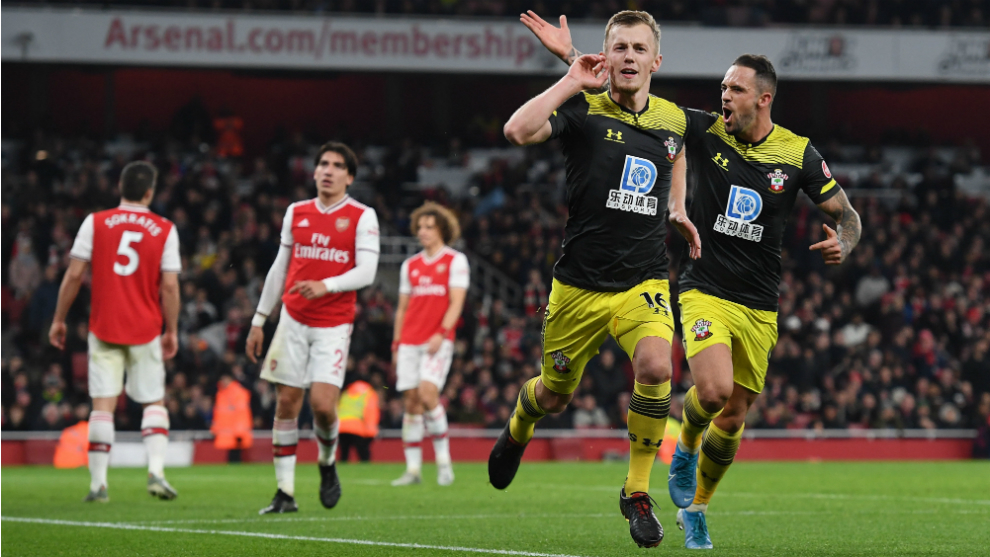 Ward-Prowse celebra su gol al Arsenal