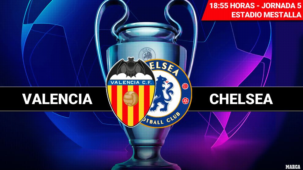 Valencia - Chelsea: Horario y dónde ver por television hoy el partido...